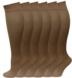 6 Pairs Pack Women Knee High Trouser Socks Opaque Stretchy Spandex (many Colors) (beige)