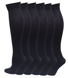 6 Pairs Pack Women Knee High Trouser Socks Opaque Stretchy Spandex (many Colors) (dark Gray)