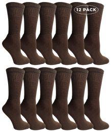 Yacht & Smith Women's Sports Crew Socks Size 9-11 Brown 12 pack