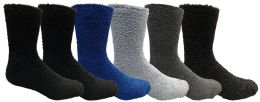 Yacht & Smith Men's Warm Cozy Fuzzy Socks, Size 10-13 6 pack