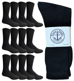 Yacht & Smith King Size Men's Crew Socks Cotton Terry Cushioned Solid Black Size 13-16