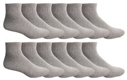Yacht & Smith Men's Premium Cotton Sport Mid Ankle Socks Size 10-13 Solid Gray 12 pack