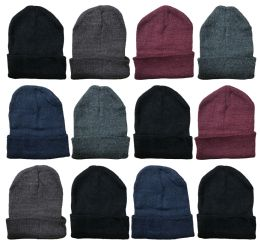 Mens Winter Beanie Hats With Fleece Lining Assorted Colors 36 pack