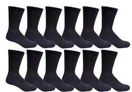 Yacht & Smith Men's King Size Loose Fit Non-Binding Cotton Diabetic Crew Socks Black Size 13-16 6 pack