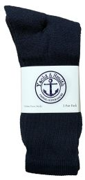 Yacht & Smith Men's Cotton Terry Cushioned Crew Socks Navy Size 10-13 Bulk Packs