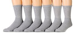 6 Pairs of Men's Heavy Duty Steel Toe Work Socks, Gray, Sock Size 10-13 6 pack