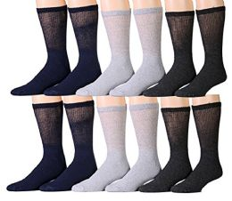 Yacht & Smith Assorted Color Diabetic Socks 10-13, Assorted Black, Heather Grey, Charcoal Grey 12 pack