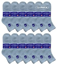 Yacht & Smith Men's Loose Fit NoN-Binding Soft Cotton Diabetic Quarter Ankle Socks,size 10-13 Gray 6 pack