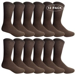 Yacht & Smith Men's Crew Socks Size 10-13 Brown
