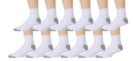 12 Pairs Value Pack of Wholesale Sock Deals Mens Ankle Socks, White / Gray 10-13 12 pack