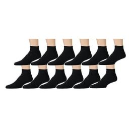 Yacht & Smith Women's Premium Cotton Ankle Socks Black Size 9-11 12 pack