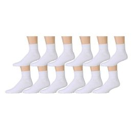 Yacht & Smith Men's Premium Cotton Sport Ankle Socks Size 10-13 Solid White 12 pack