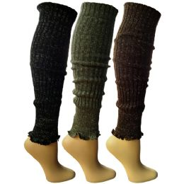 3 Pairs of Womens Leg Warmers, Warm Winter Soft Acrylic Assorted Colors by WSD (Assorted C) 3 pack