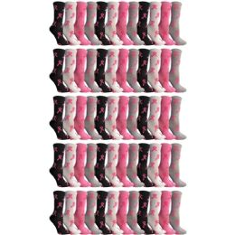 Yacht & Smith Womens Breast Cancer Awareness Pink Ribbon Crew Socks Size 9-11 60 pack