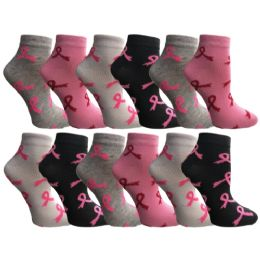 Yacht & Smith Women's Breast Cancer Awareness Socks, Pink Ribbon Ankle Socks 12 pack