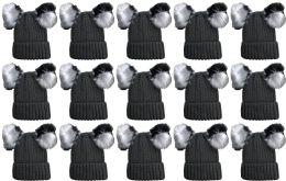 Double Pom Pom Ribbed Winter Beanie Hat, Multi Color Pom Pom Solid Gray