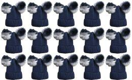 Double Pom Pom Ribbed Winter Beanie Hat, Multi Color Pom Pom Solid Navy 15 pack