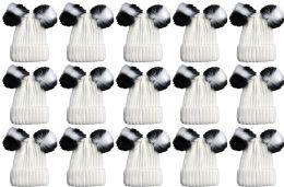 Double Pom Pom Ribbed Winter Beanie Hat, Multi Color Pom Pom Solid White