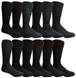 Yacht & Smith Mens Fashion Designer Dress Socks, Cotton Blend Assorted 12 pack