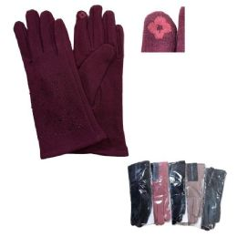 Women's Rhinestone Plush-Lined Touch Screen Gloves 24 pack