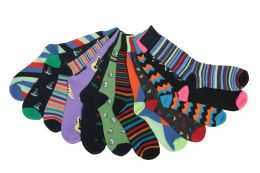 Mens Funky Printed Dress Socks, Mixed Patterns