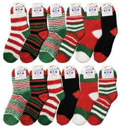 Christmas Fuzzy Socks, Fun Colorful Festive, Holiday Theme Socks Womens Size 9-11 12 pack