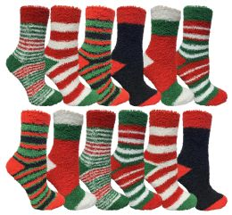 Yacht & Smith Christmas Fuzzy Socks , Soft Warm Cozy Socks, Size 9-11 12 pack