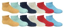 12 Pairs of SOCKSNBULK Kids Solid Colored Fuzzy Socks, #464,Assorted,4-6 12 pack