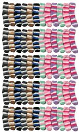 Yacht & Smith Kids Stripe Color Fuzzy Socks Size 4-6 60 pack