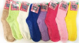 Solid Color Ladies' Fuzzy Socks with Anti Skid Assorted 60 pack