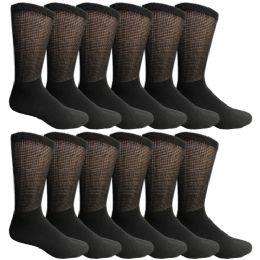 Yacht & Smith Men's Loose Fit NoN-Binding Soft Cotton Diabetic Crew Socks Size 10-13 Black