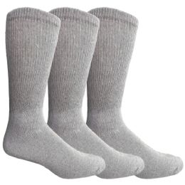 Yacht & Smith Men's Loose Fit NoN-Binding Soft Cotton Diabetic Crew Socks Size 10-13 Gray 3 pack