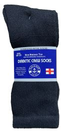 Yacht & Smith Men's Loose Fit Non-Binding Soft Cotton Diabetic Crew Socks Size 10-13 Black 60 pack