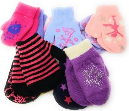 Colorful Cute Toddlers Assorted Mittens 2-Pack 72 pack