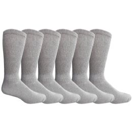 Yacht & Smith Men's King Size Loose Fit NoN-Binding Cotton Diabetic Crew Socks Gray Size 13-16 6 pack