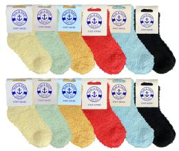Yacht & Smith Kids Solid Color Fuzzy Socks Size 4-6 60 pack