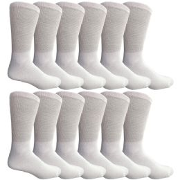 Yacht & Smith Men's King Size Loose Fit Non-Binding Cotton Diabetic Crew Socks White Size 13-16 12 pack