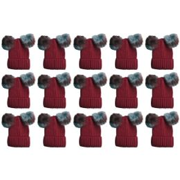 Yacht & Smith Womens 3 Inch Double Pom Pom Ribbed Beanie Hat, Wine Value Pack