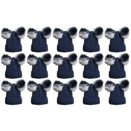 Yacht & Smith Womens 3 Inch Double Pom Pom Ribbed Beanie Hat, Navy Value Pack