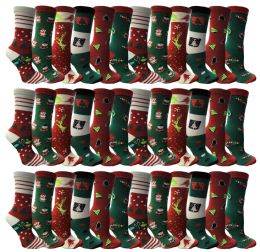 Christmas Printed Socks, Fun Colorful Festive, Crew, Sock Size 9-11 36 pack