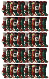 Christmas Printed Socks, Fun Colorful Festive, Crew, Sock Size 9-11 60 pack