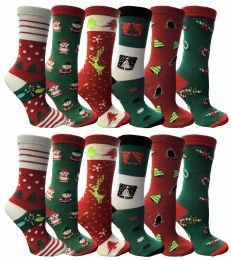 Christmas Printed Socks, Fun Colorful Festive, Crew, Sock Size 9-11 12 pack