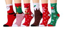 Women Christmas Fun Colorful Printed Holiday Socks (Assorted 6 Pack Non Skid/Gripper Bottom 6 pack