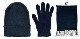 3 Piece Unisex Winter Set, Hat Glove And Scarf Sets Solid Black 72 pack