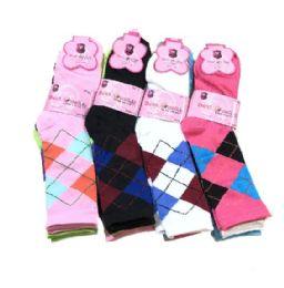 Three Pair Ladies Crew Sock Bright Argyle 36 pack