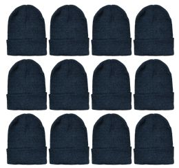 Yacht & Smith Unisex Winter Warm Beanie Hats In Solid Black 12 pack