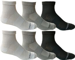 Yacht & Smith Mens Short Crew Socks, Patterned Sports Sock, Mesh Top 6 pack