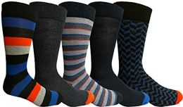 Yacht&Smith 5 Pairs of Mens Dress Socks, Colorful Fun Pattern Design, Casual (Assorted D)