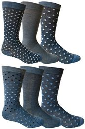 6 Pairs Of Yacht&smith Dress Socks, Colorful Patterned Assorted Styles (pack c)
