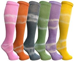 Yacht&Smith 6 Pairs Tie Dye Womens Knee High Socks, Anti Microbial, Premium Soft Touch Tie Dye Prints 6 pack